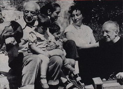 With Francoise, Paul Eluard and his wife Dominique, 1950
