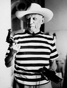 Picasso with revolver and hat of Gary Cooper, 1958