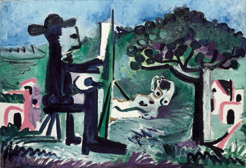 Pablo Picasso. The painter and his model in a landscape II, 1963