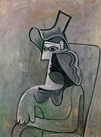 Pablo Picasso. Seated Woman with Hat (Jacqueline)