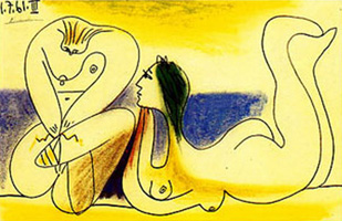 Pablo Picasso. On the beach