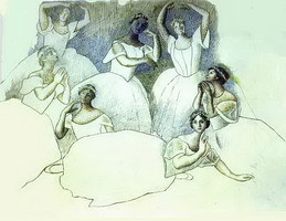 Group of Dancers. Olga Kokhlova is Lying in the Foreground