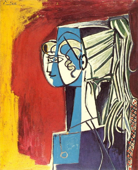 Pablo Picasso Portrait of Sylvette David 25 on red 1954