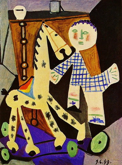 Pablo Picasso. Claude has two years with his horse on wheels, 1949