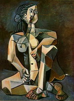 Pablo Picasso. Naked woman crouching, 1956