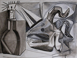 Pablo Picasso. Crane goat, bottle and candle, 1945