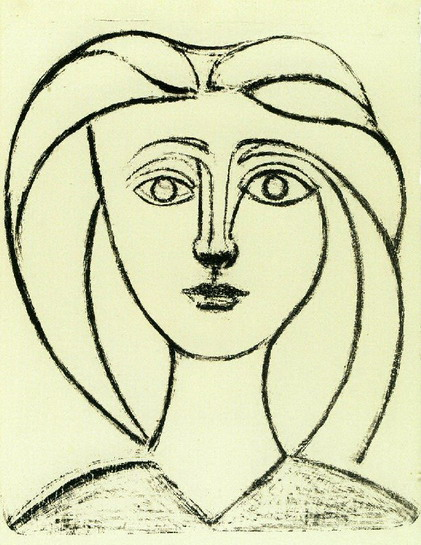 Pablo Picasso. Head of a Girl with big hair VI, 1945