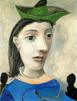 Woman with green hat