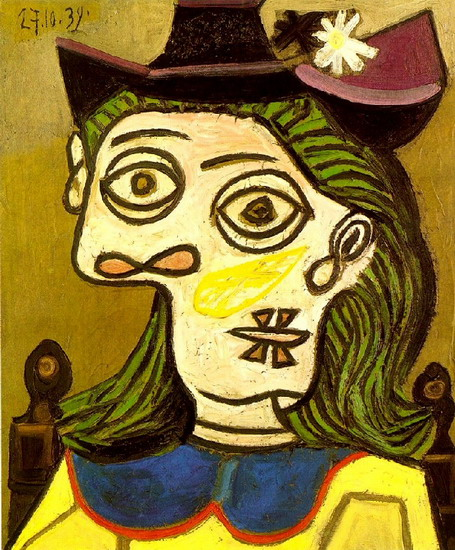 Pablo Picasso. Head of a Woman with purple hat, 1939