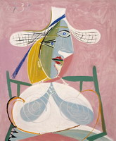 Pablo Picasso. Seated Woman with a Straw Hat, 1938