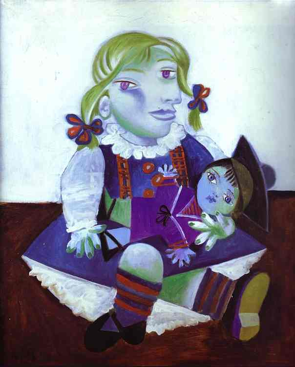 Pablo Picasso. Portrait of Maya with her Doll. 1938 year