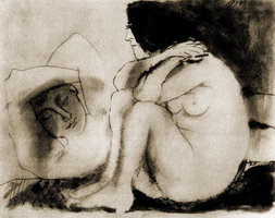 Pablo Picasso. Sleeping man and woman sitting, 1943