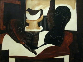Pablo Picasso. Still life with antique Head (guitar, partition, fruit bowl, female bust), 1925