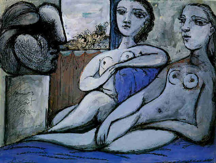 Pablo Picasso. Two naked feminine and woman head, 1933