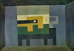 Pablo Picasso. Guitar and jug on a table, 1918