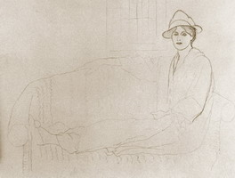 Pablo Picasso. Olga Picasso lengthened on a sofa, 1918
