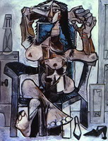 Pablo Picasso. Nude in an Armchair with a Bottle of Evian Water, a Glass and Shoes, 1959