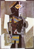 Pablo Picasso. Harlequin with guitar (if you want), 1918