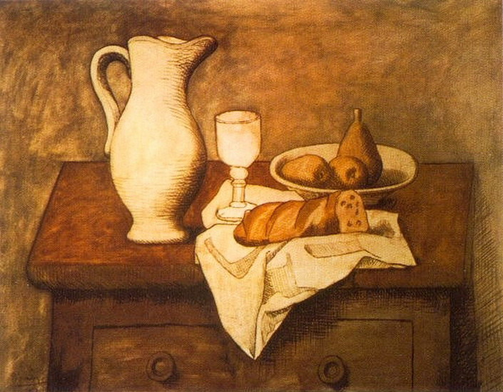 Pablo Picasso. Still life with jug and bread, 1921