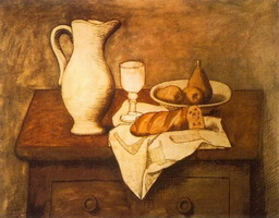 Still life with jug and bread