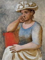 Woman leaning with a white hat