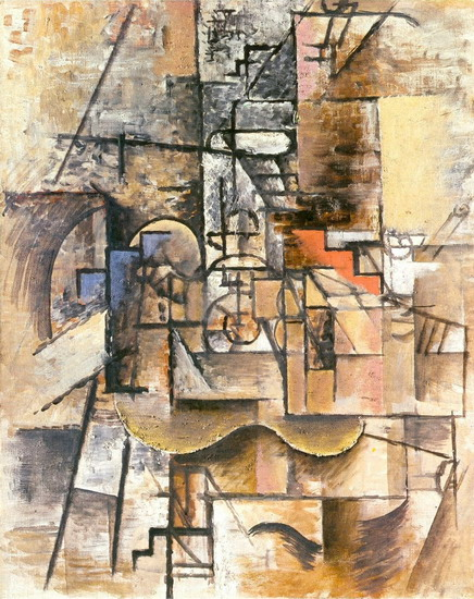 Pablo Picasso. Guitar, glass and pipe, 1912
