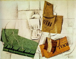 Pablo Picasso. Glass wine bottle, package of tobacco, newspaper, 1914