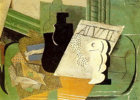 Pablo Picasso. Playing cards, bottle, glass, 1914