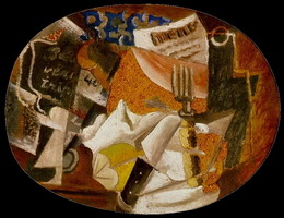 Pablo Picasso. Knife, fork, menu, bottled ham, 1914