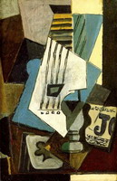 Pablo Picasso. Nature morte- guitar, newspaper, glass and ace of clubs, 1914