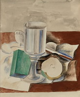 Pablo Picasso. Still Life with Glass and apple, 1914