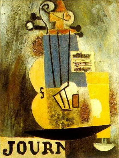 Pablo Picasso. Violon, partition et journal, 1912