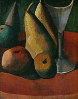 Pablo Picasso. Glass and fruits, 1908