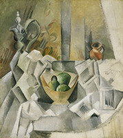 Pablo Picasso. Decanter, jar and fruit bowl, 1909