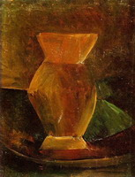 Still life with vase and green l`etoffe