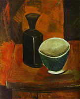 Pablo Picasso. Green bowl and black bottle, 1908