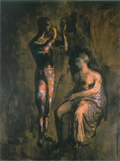 Pablo Picasso. Harlequin grimant before a woman sitting, 1905