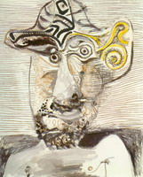 Pablo Picasso. Man's bust with a hat, 1972
