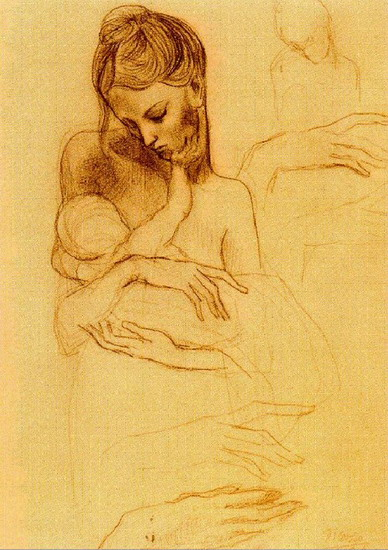 Pablo Picasso. Mother and child hands of study, 1904