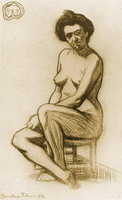 Naked woman sitting, 1899