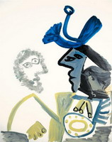 Pablo Picasso. Two profile I busts, 1972