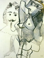 Pablo Picasso. Nude and Head d`homme, 1967