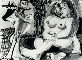 Pablo Picasso. Seated Nude and flutist, 1967