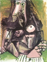 Pablo Picasso. sitting naked, 1971