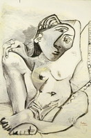 Pablo Picasso. Woman with pillow (Jacqueline), 1969