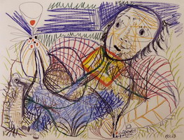 Pablo Picasso. Man cutting, 1969