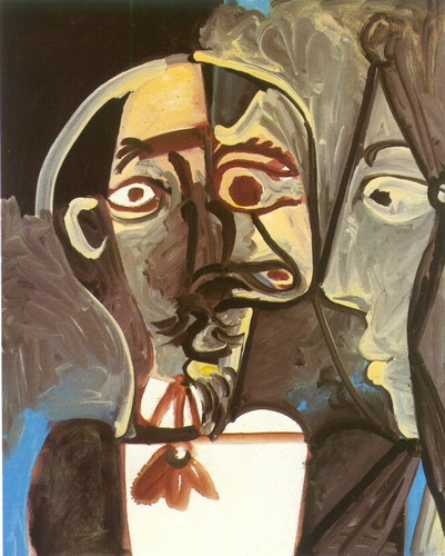 Pablo Picasso. Bust of man and woman face profile, 1971