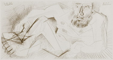 Pablo Picasso. Lying naked man, 1966