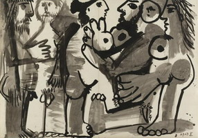 Pablo Picasso. Women and naked men standing, 1967