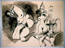 Pablo Picasso. Two naked men and heads of, 1972
